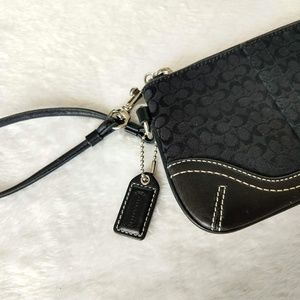 Coach signature wristlet black canvas leather